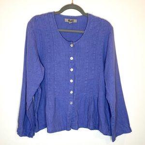FLAX Lagenlook Linen Button Front Shirt Small